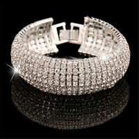 Fashion Women Full Crystal Rhinestone Cuff Bracelet Elegant Lady Bangle Jewelry