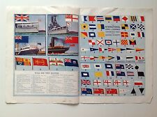 International Shipping Signals And Flags, Vintage Magazine Print 1936, Nautical