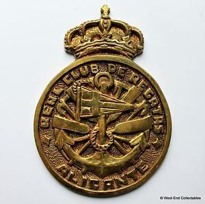 Real Club De Regatas Alicante - Brass Sailing Yacht Tampion Plaque Badge Crest