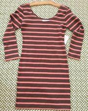 Brown & Coral Bodycon Stripe Dress ~ sz S ~ BNWT ~ Preppy Nautical 3/4 Sleeve