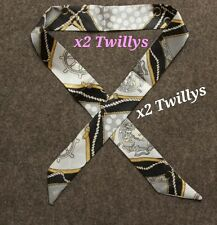 Brand New x2 Silk Twilly Grey Scarves Bag Charm for Handles or Hair Scarf Bow