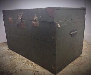 Grande malle cantine en bois début XXème 1900 vert kaki