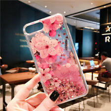 For iPhone X 8 6s 7 Plus Flower Glitter Quicksand Clear Soft Silicone Case Cover