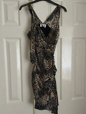 BLACK,BEIGE ANIMAL PRINT & FLOWERS WIGGLE PENCIL RUCHED PARTY DRESS