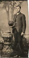 """Antique Tintype Photograph young man with suit & hat 2"""" X 3"""" Great Image"""