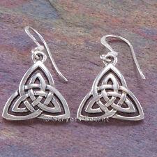 CELTIC Trinity Knot Earrings double TRIQUETRA Dangle Hook Sterling Silver 925