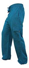 Plain Wide Leg Mens Cargo Pants Bohemian Festival Hippie Casual Combat Trousers