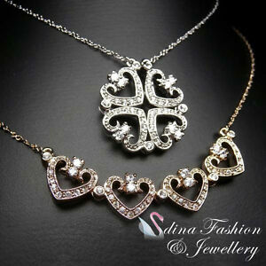 18K White Gold GP Made With Swarovski Crystal Two Way 4 Heart Clover Necklace