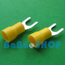20pcs New Fork Terminal Crimp Spade Wire Connector, #10, 48AMP, 12~10AWG, Yellow