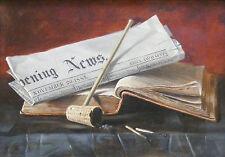 John Linton Chapman 1885 trompe l'oeil still life newspaper painting Brooklyn NY