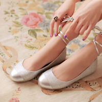 Womens Ballet Shoes Comfort Flats Lace Up Pumps Shoes Lace Up Silver Sequins NEW