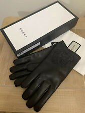 GUCCI TIGER HEAD BLACK NAPPA LEATHER GLOVES SIZE 9 MEDIUM CASHMERE LINED £495