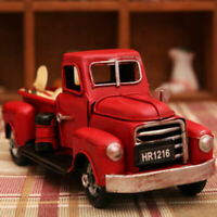 Vintage Metal Classic Pickup Red Truck w/Tree Farm House Rustic Decor Christmas