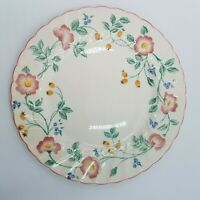 "4 Churchill Briar Rose 10"" Dinner Plates Pink Staffordshire England Vintage 80s"