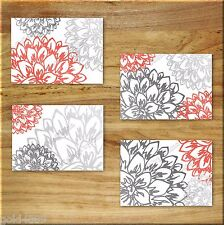 Gray and Coral Wall Art Prints Home Decor Bathroom Bedroom Kitchen Floral Flower
