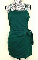 Women's ALLY Teal Green Casual Style Wrap Side Tie Short Dress Size 14 EUC