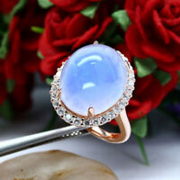 NATURAL 12 X 16 mm. CABOCHON LAVENDER CHALCEDONY & WHITE CZ RING 925 SILVER