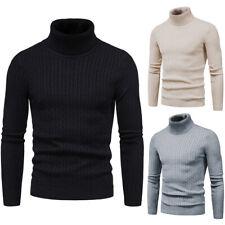 Homme Pull Sweater à Col Roulé Hiver Chaud Tricoté Sweat Haut Tops Manche Long