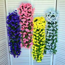 1/2/4 Pcs Artificial Fake Violet Orchid Flowers Hanging Wall Rattan Baskets