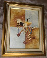 Tableau contemporain huile sur toile signée Roy BOXI : Fillettes & trottinettes