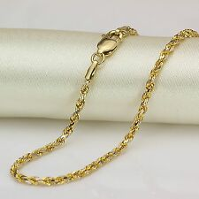 "NEW AU750 PURE 18K Yellow Gold Necklace Women Perfect Rope Chain 2mmW 17.7""L"
