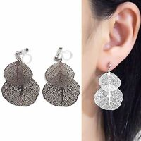 Silver Leaf Filigree Invisible Clip On Earrings Dangle Leaves Lace Clip Earrings