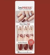 KISS IMPRESS PRESS ON NAILS ONE STEP MANICURE SYMPHONY CHRISTMAS STYLE RED NEW