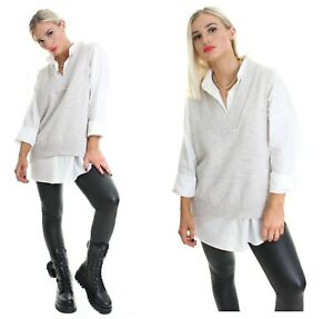 Womens White Shirt Knitted Jumper Tee Long Sleeve Dress Sweater Ladies Vest Top