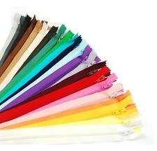 "ZIPS 16""/40CM CLOSED END NYLON, ASSORTED COLS, IDEAL FOR CUSHIONS & DRESSES, X5"
