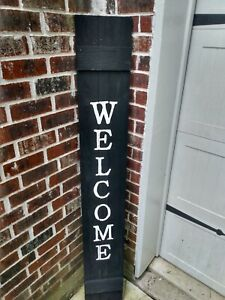 Wood Door Sign WELCOME  Porch Vertical Black Farmhouse Handmade 5 FT tall