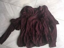 Size 10 Red Checked Gypsy Top Blouse Shirt River Island
