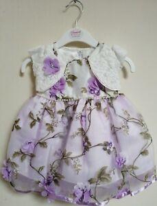 Lilac Ivory Floral Summer Wedding Christening Guest Party Dress 0-24m + Bolero