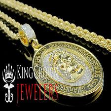YELLOW GOLD FINISH 2 TONE MENS JESUS FACE CHARM HEAD PENDANT CHAIN NECKLACE SET