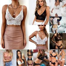 098d4d5984f Women Black Lace Floral Triangle Bralette Bralet Bra Crop Top Unpadded  Underwear