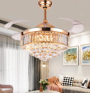"42"" Luxury Invisible Crystal Ceiling Fan Light Modern LED Chandelier w/ Remote"