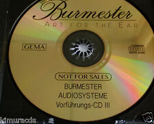 Burmester Vorfuhrungs CD III, Gold Disc, Audiophile Must Have CD, NM, Disc Only.