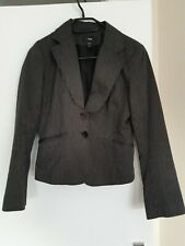 H&M Grey Women's Fitted Suit Jacket Blazer Button Size 8