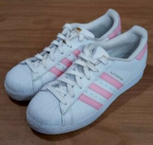 Adidas Superstar White & Pink Womens Size 6 Sneakers S81019