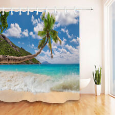 Tropical Paradise Island Sandy Beach Palm Shower Curtain Set Waterproof Fabric