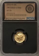 2016-W Mercury Dime 24K Gold 1/10 oz Black Core Director of Excellence NGC SP 70