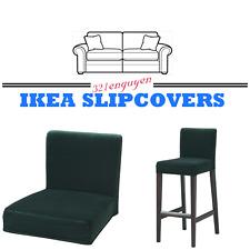 IKEA Henriksdal Bar Stool Chair Slipcover Cover with Backrest Djuparp Dark Green