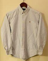 RALPH LAUREN POLO Boys Button Down Collared Oxford Shirt Size 14 Blue/White