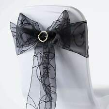 Embroidered Organza Chair Sash Bow Wedding Party Shower