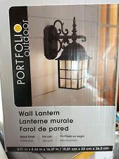 Portfolio Outdoor Wall Lantern ~Metal black finish frosted glass 0048183