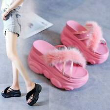 Sandals Women Gladiators High Heel Platform Slippers Rabbit Fur Chunky Party New