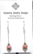 Sterling Silver Natural Pink PERUVIAN OPAL Long Dangle Earrings...Handmade USA