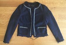 ZARA Navy Blue Boucle Tweed Beaded JACKET BLAZER EMBELLISHED Beads SZ XS