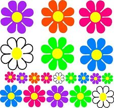 LARGE flower SET 27 BRIGHT bus van truck Retro bug hot pink neon green centers