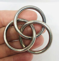 Large Sterling Silver Taxco Brooch Interlocking Circles 18.65gms Vintage Jewelry