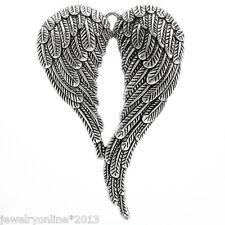 5 Charm Anhänger Antik Silber Engelsflügel für Halskette 6.9x4.7cm Top JO